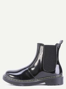 Black Patent Leather Round Toe Elastic Short Boots