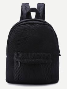 Black Front Zipper Nylon Mesh Backpack