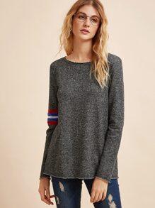 Grey Striped Trim Long Sleeve T-shirt
