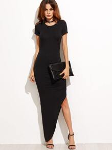 Black Short Sleeve Asymmetrical Maxi Dress