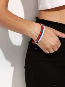 Colored Faux Leather Braided Bracelet