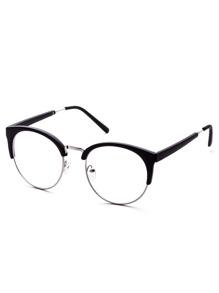 Black Open Frame Round Clear Lens Glasses