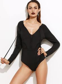 Black Deep V Neck Self Tie Hollow Bodysuit