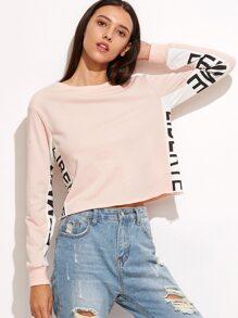 Pink Contrast Letter Print Panel Crop Sweatshirt