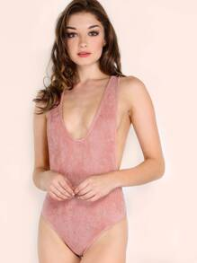 Pink Drop Armhole Ribbed Racer Bodysuit