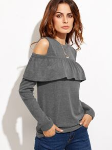 Grey Cold Shoulder Ruffle Trim T-shirt