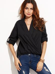 Black Wrap V Neck Roll Up Sleeve Blouse