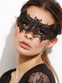 Black Bat Shaped Lace Mask