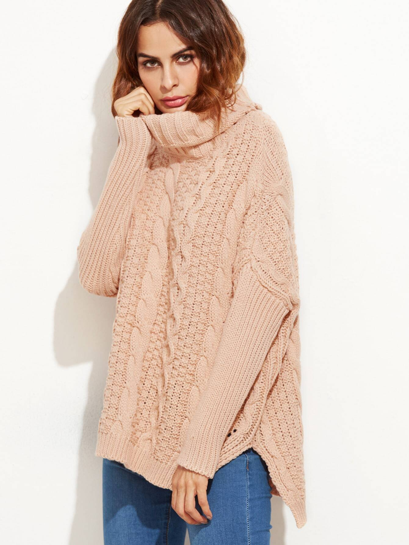 Pink Cable Knit Turtleneck High Low Sweater EmmaCloth-Women Fast ...