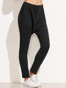 Black Drawstring Waist Harem Pants