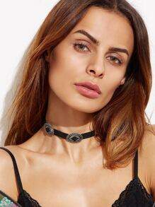 Antique Silver Carved Geometric Choker Necklace