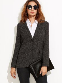Black Tweed Slim Fit Blazer With Flap Pocket