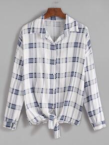 Blue Plaid Tie Front Drop Shoulder Seam Blouse