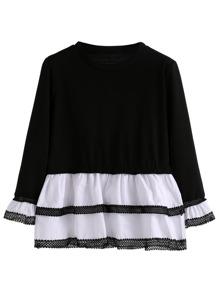 Black White Lace Contrast Peplum T-shirt