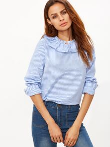 Blue Striped Ruffle Collar Button Back Blouse