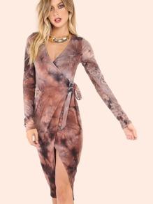 Sleeve Wrap Midi Tie Dye Dress ROSE MULTI