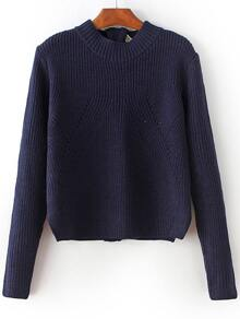Navy Zipper Detail Convertible Sweater