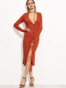 Orange Deep V Neck Buttons Front Split Dress