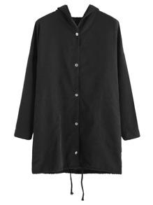 Black Dog Print Back Drawstring Hooded Outerwear
