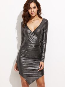 Metallic Grey Surplice Front Ruched Asymmetric Bodycon Dress