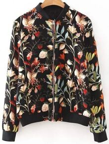 Black Floral Print Zipper Up Jacket With Pockets