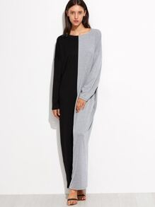 Contrast Dolman Sleeve Cocoon Maxi Dress