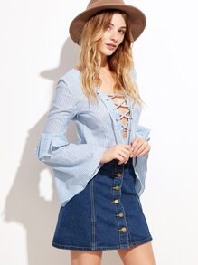 Blue Vertical Striped Lace Up V Neck Bell Sleeve Blouse