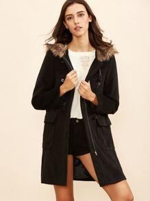 Black Duffle Coat With Faux Fur Hood