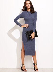 Blue Split Side Sweater Dress