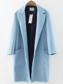 Blue Lapel Front Pocket Long Coat