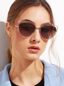 Silver Frame Brown Cat Eye Hollow Out Sunglasses