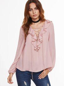 Pink Ruffle Trim Lace Up V Neck Blouse