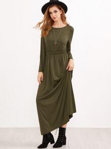 Army Green Elastic Waist Maxi Dress