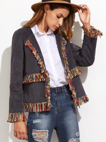 Grey Collarless Corduroy Blazer With Fringe Detail