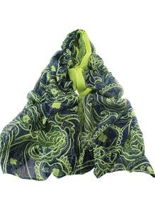 Navyblue Autumn New Flower Printed Long Voile Scarf