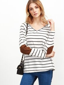 White Striped Double V Neck T-shirt With Elbow Patch