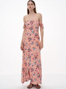 Pink Florals Off The Shoulder Slit Ruffle Dress