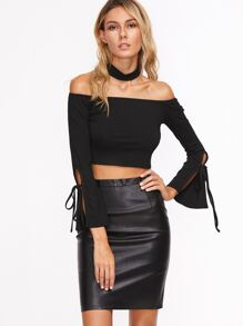Black Split Bow Tie Sleeve Crop Off The Shoulder T-shirt