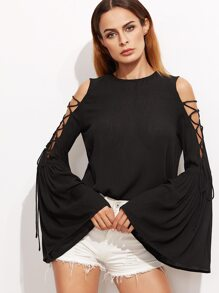 Black Lace Up Open Shoulder Bell Sleeve Crinkle Top