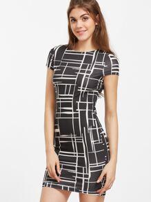 Black Geo Print Bodycon Dress