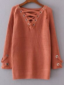 Orange Eyelet Lace Up V Neck Sweater