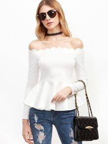 White Scallop Off The Shoulder Peplum Top