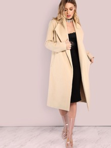 Tailored Longline Wool Coat TAUPE