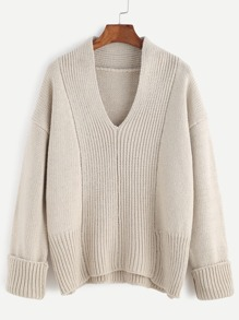 Apricot V Neck Drop Shoulder Cuffed Sweater