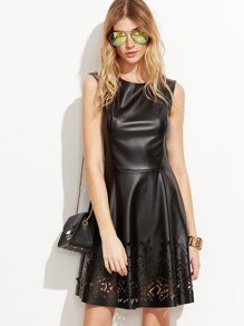 Black Faux Leather Laser Cutout Skater Dress
