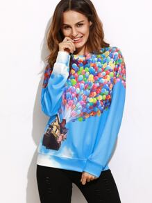 Blue Flying House Print Drop Shoulder Sweatshirt