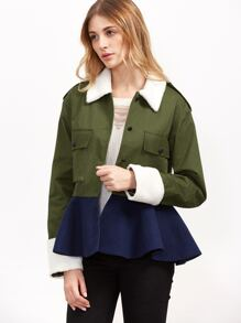 Color Block Pocket Front Peplum Jacket