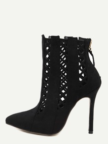 Black Cutout Point Toe Stiletto Suede Booties