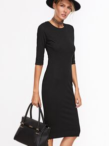 Black Half Sleeve Casual Midi Dress