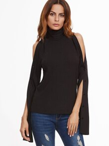 Black Turtleneck Buttoned Split Sleeve Ribbed T-Shirt